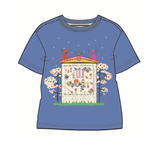 PRE-ORDER SS20 Oilily Girls Tak 'House With Cats' Blue T-Shirt 53