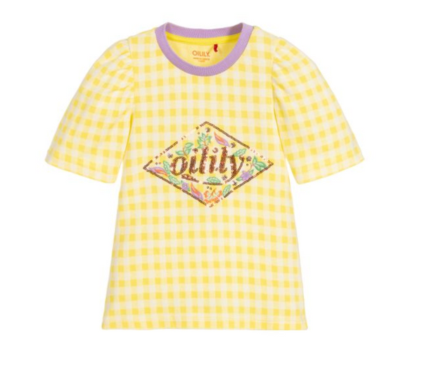 SS20 Oilily Girls Tuintje Check Sequin Branded T-Shirt 40