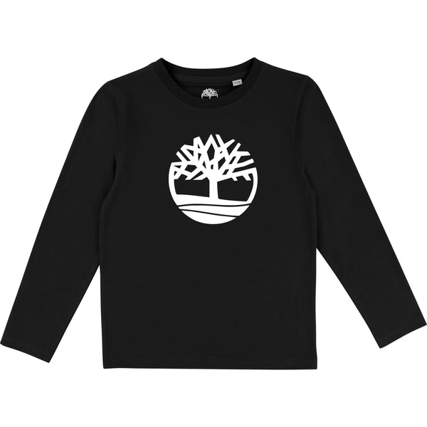 AW18 Timberland Boys Black Logo Long Sleeved Top
