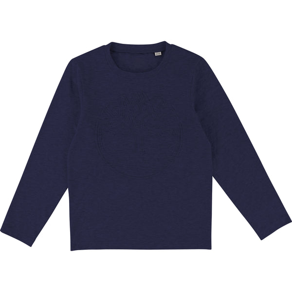 AW18 Timberland Boys Navy Branded Long Sleeve Top