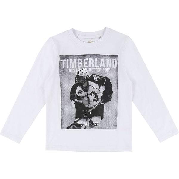 AW18 Timberland Boys Ice Hockey Print Long Sleeved Top