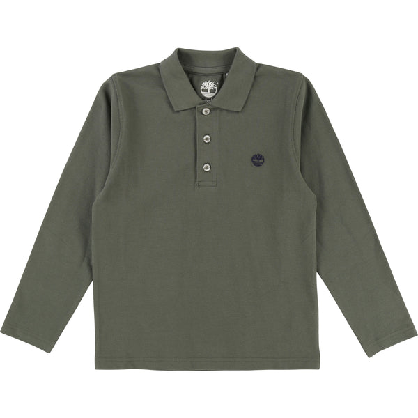 AW18 Timberland Boys Khaki Green Long Sleeved Polo Top