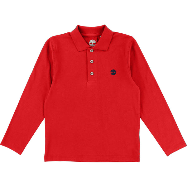 AW18 Timberland Boys Red Long Sleeved Polo Top