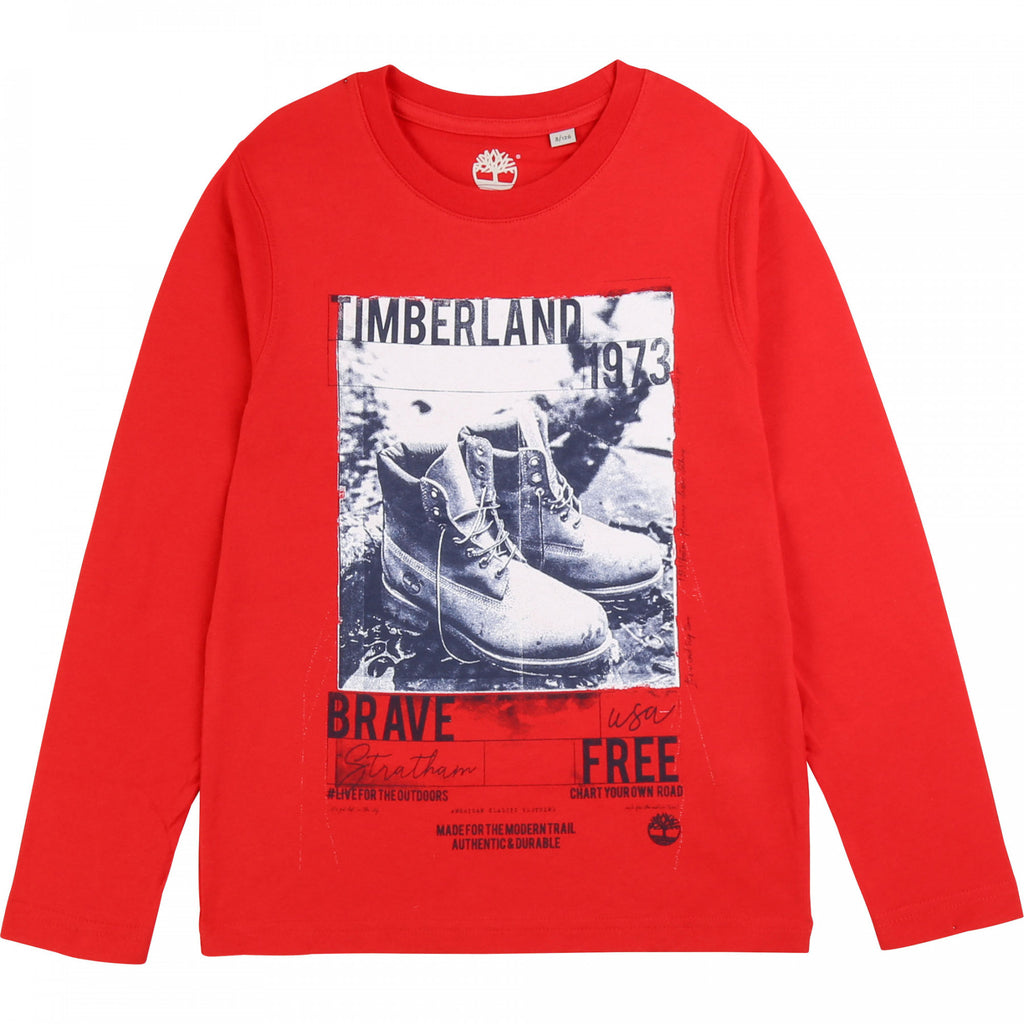 AW19 Timberland Boys Red Boots Long Sleeved Top