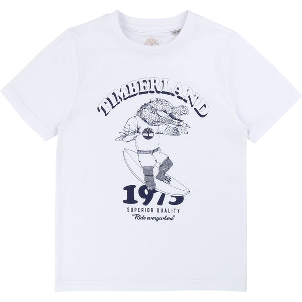 SS20 Timberland Boys White Alligator Print T-Shirt