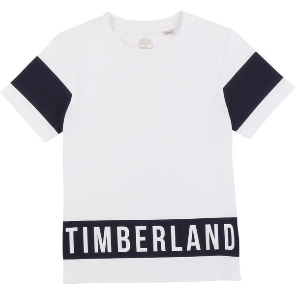 SS20 Timberland Boys White & Navy Blue Branded T-Shirt