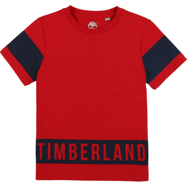 SS20 Timberland Boys Red & Black Branded T-Shirt