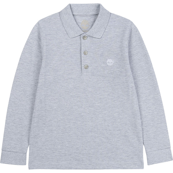 PRE-ORDER AW20 Timberland Boys Grey Long Sleeved Polo Top