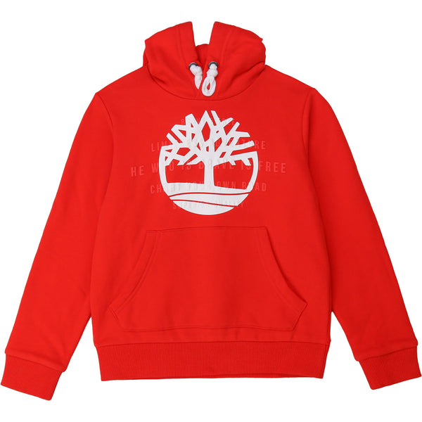 AW20 Timberland Boys Red Hooded Sweatshirt