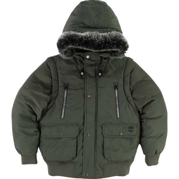 AW18 Timberland Boys Khaki Green Coat With Removable Sleeves 4-14 Years