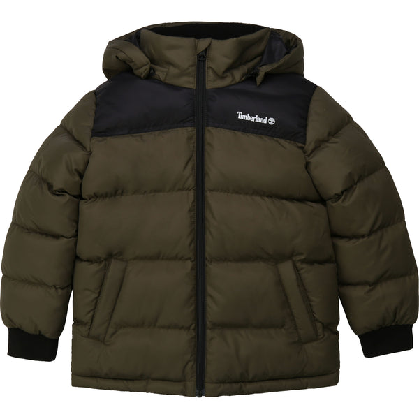 AW20 Timberland Boys Khaki & Black Hooded Puffer Coat