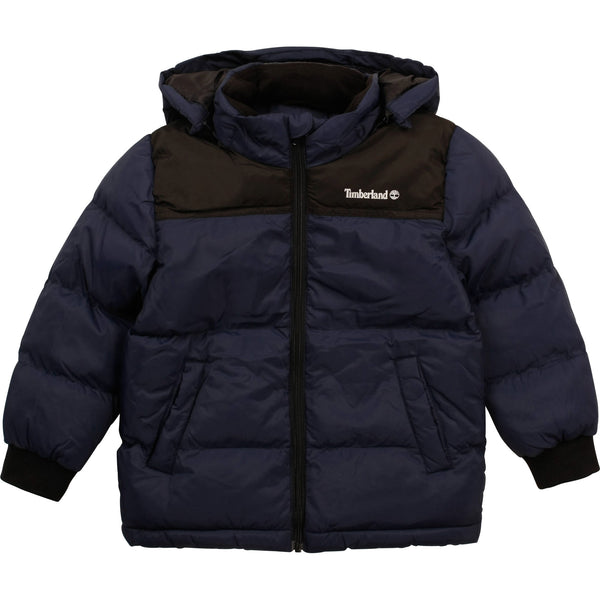 AW20 Timberland Boys Navy Blue & Black Hooded Puffer Coat