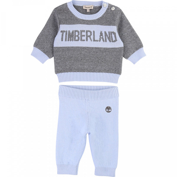 AW19 Timberland Baby Boys Pale Blue Knitted Set