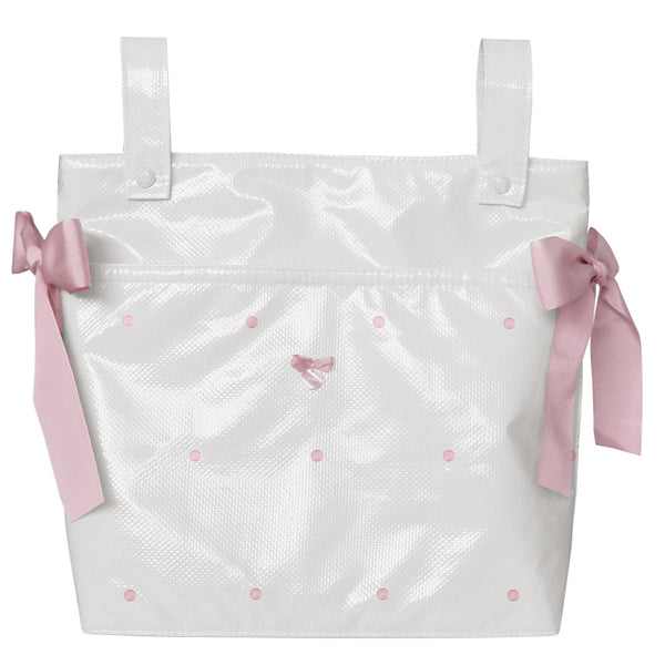 Uzturre White & Pink Bow Pram Bag