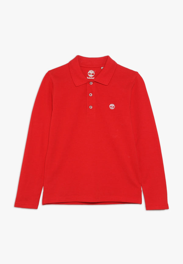 AW20 Timberland Boys Red Long Sleeved Polo Top