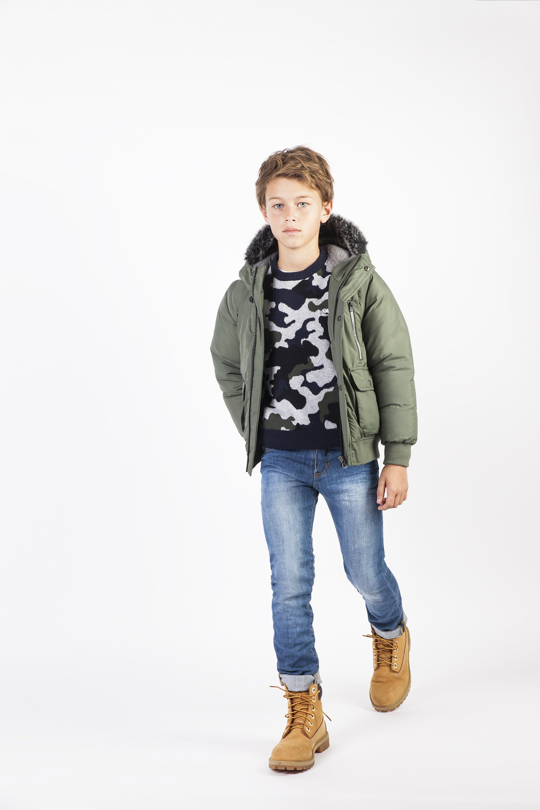 54c30a527 AW18 Timberland Boys Khaki Green Coat With Removable Sleeves 4-14 ...