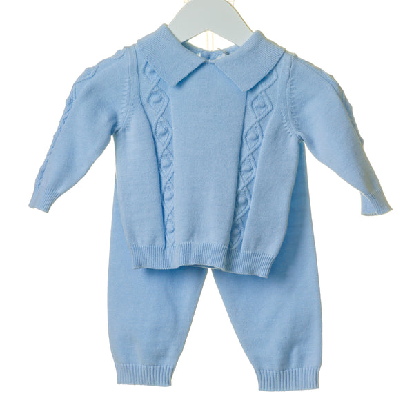 AW20 Blues Baby Baby Boys Blue French Knit Set TT0123