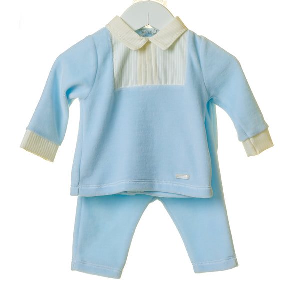 AW20 Blues Baby Baby Boys Blue Velour Set TT0196