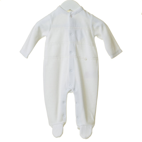 AW20 Blues Baby White Velour Babygrow TT0207