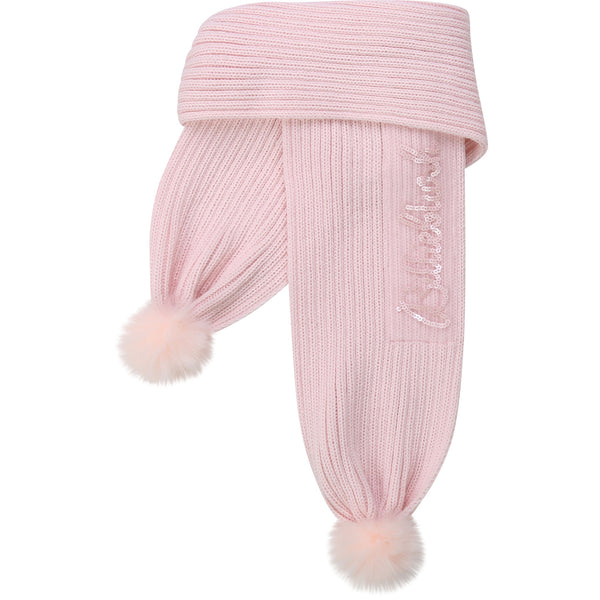 AW20 Billieblush Girls Pink Knitted Pom Pom Scarf