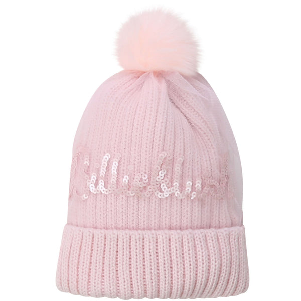 AW20 Billieblush Girls Pink Knitted Pom Pom Hat