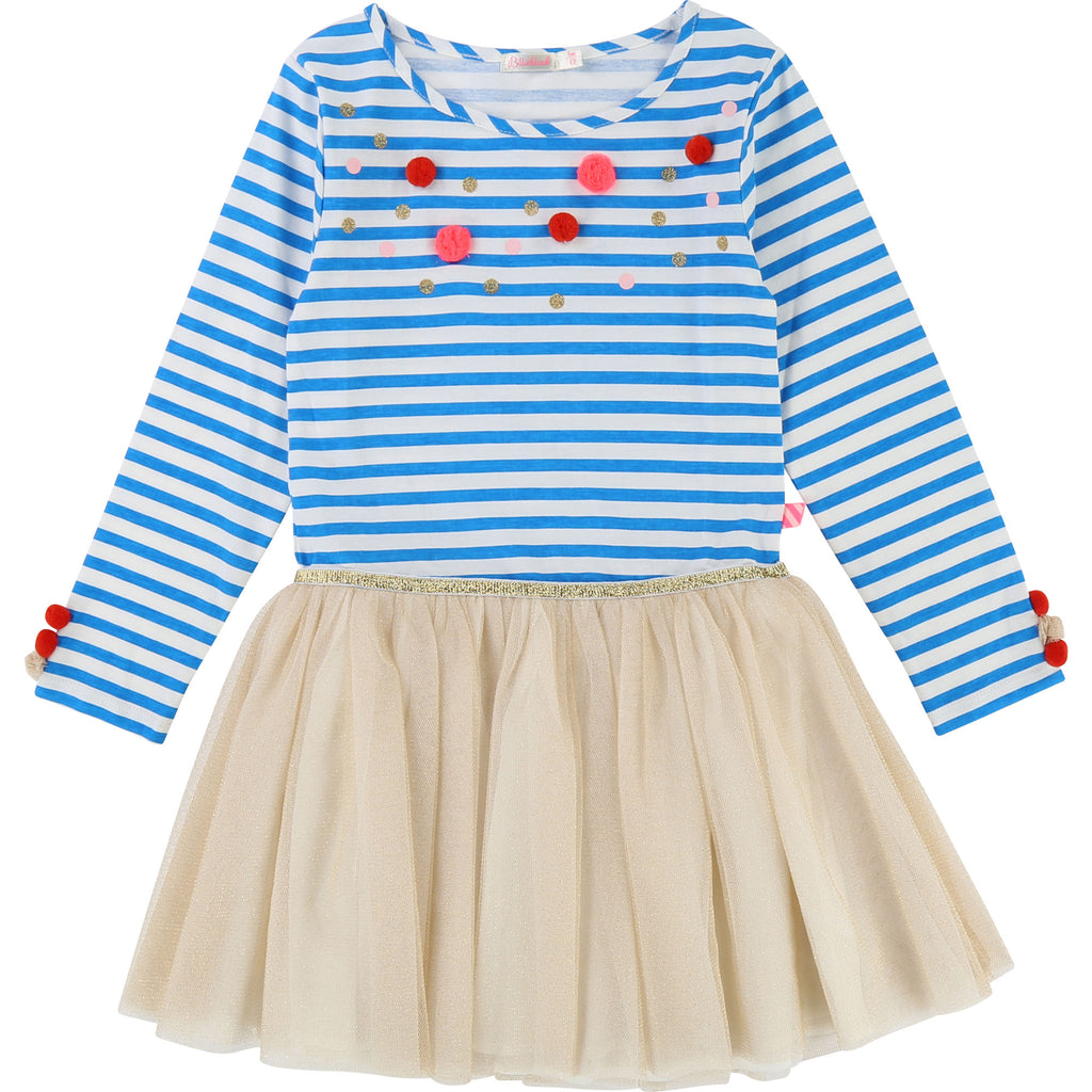 AW18 Billieblush Girls Blue & White Stripe Tulle Skirted Dress