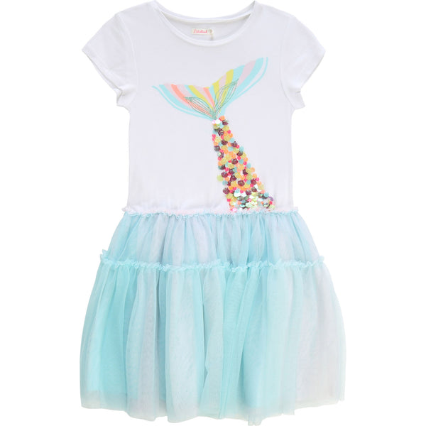 SS20 Billieblush Girls White & Turquoise Mermaid Dress