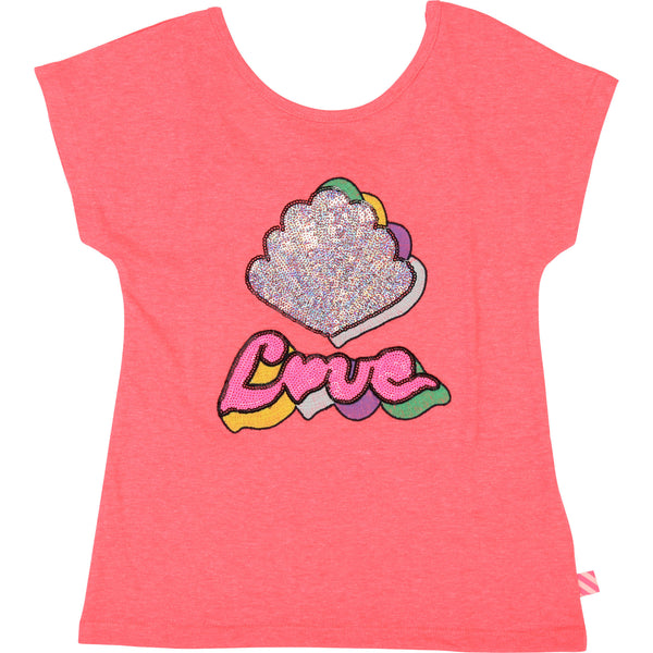 SS19 Billieblush Girls Pink 'Love' Sequin Top