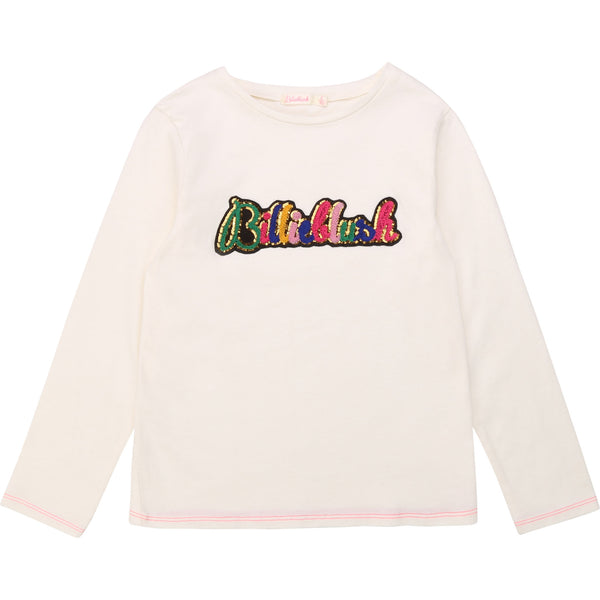 AW20 Billieblush Girls Ivory Sequin Logo Top