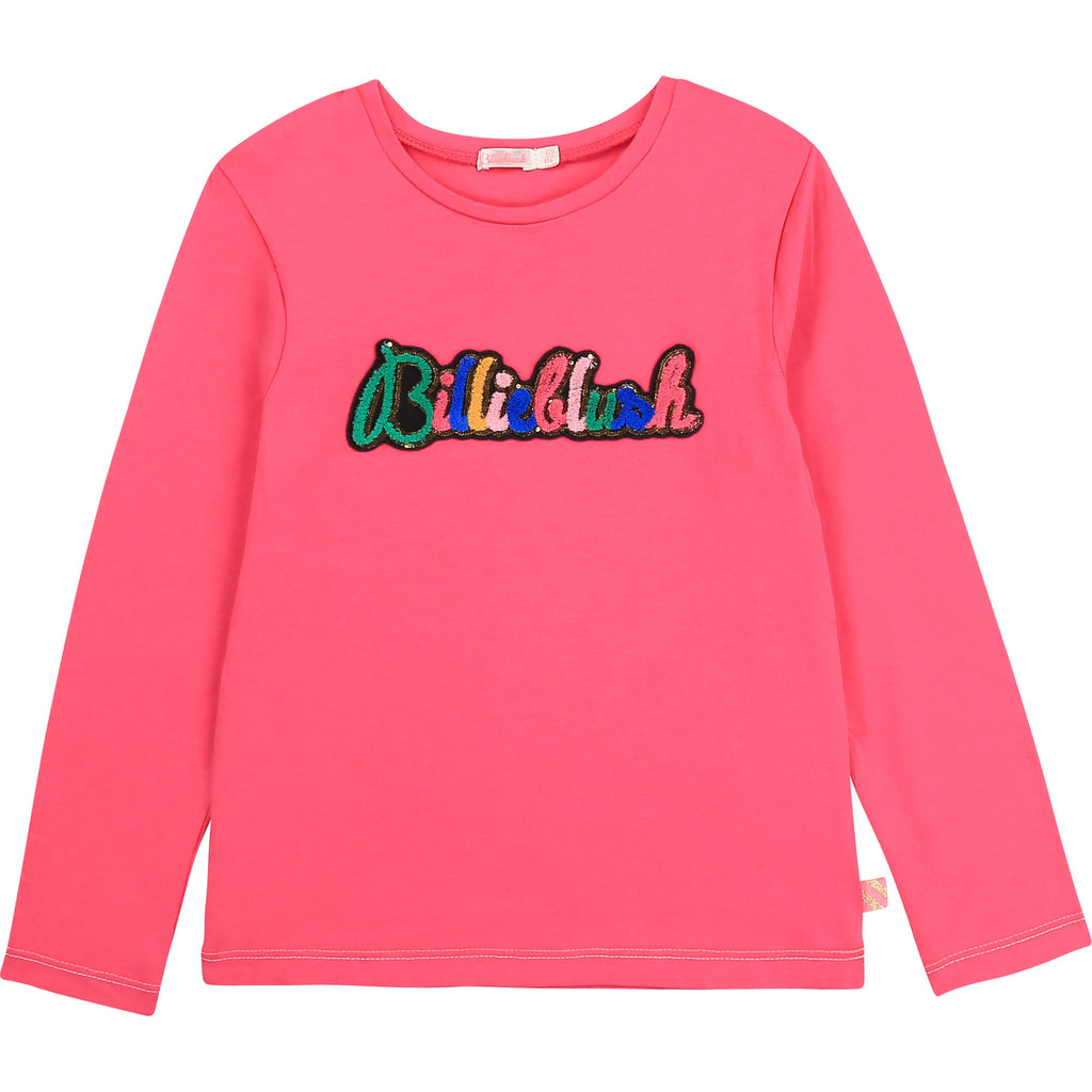 AW20 Billieblush Girls Pink Sequin Logo Top