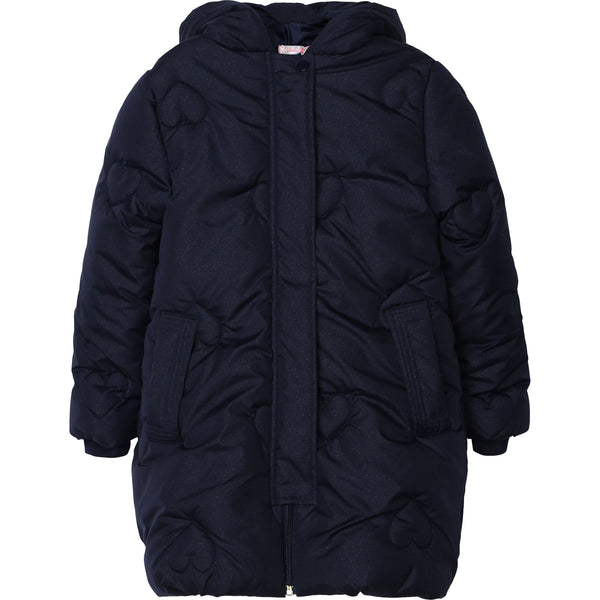AW20 Billieblush Girls Navy Blue Hearts Coat