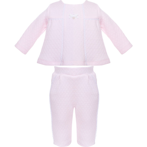 AW18 Patachou Baby Girls Pink Jacquard Two-Piece Set