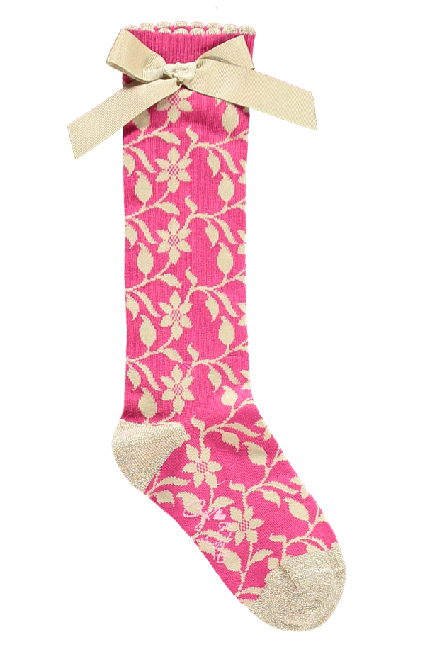 AW18 A*Dee Girls Alex Pink Princess Gold Leaf Socks