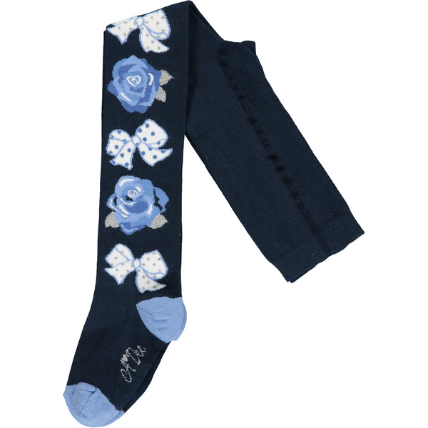 PRE-ORDER AW20 A Dee Girls Henrietta Navy Blue Bow & Roses Tights