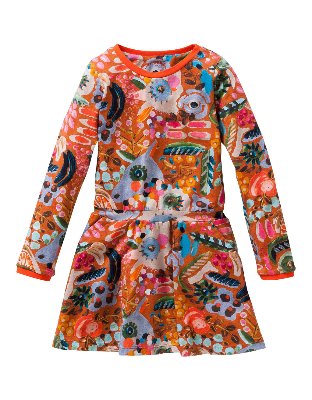 AW16 Oilily Girls Toop Jersey Dress 83 All-Over Painterly Caramel - Liquorice Kids
