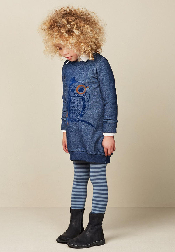 AW17 Oilily Girls Hanna Sweat Dress 59 Blue Melee With Owl - Liquorice Kids