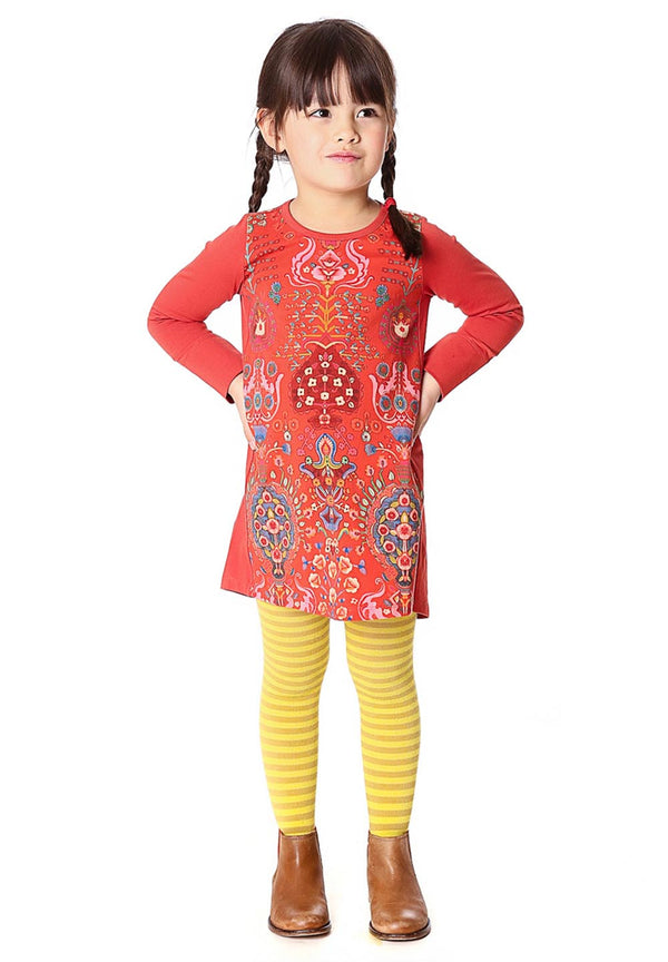 AW17 Oilily Girls Tisha Jersey Dress 22 Ovation Red Panel - Liquorice Kids