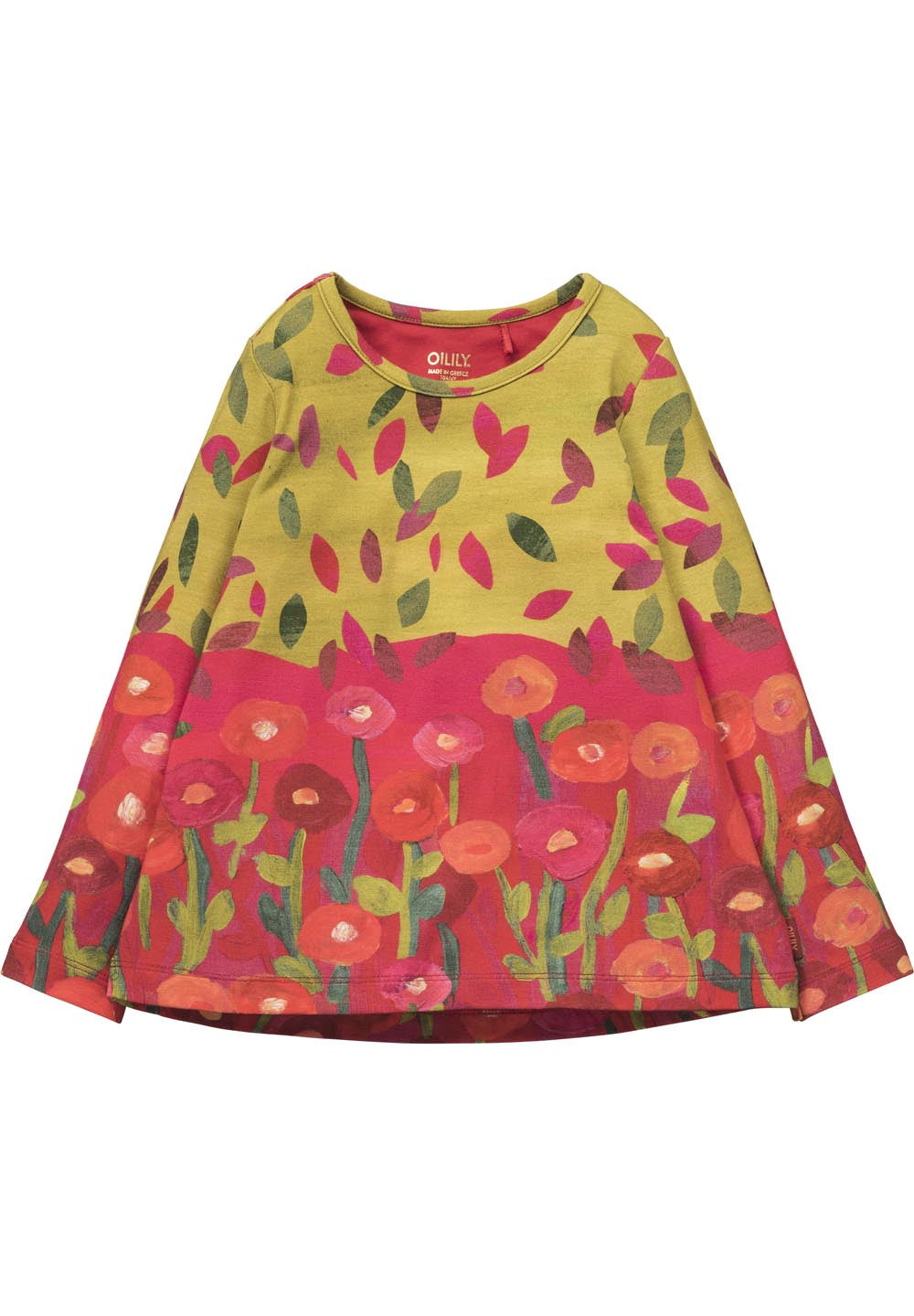AW17 Oilily Girls Thermeline Long Sleeve Fancy Top 44 Panel Bottom Flowers Top Leaves - Liquorice Kids