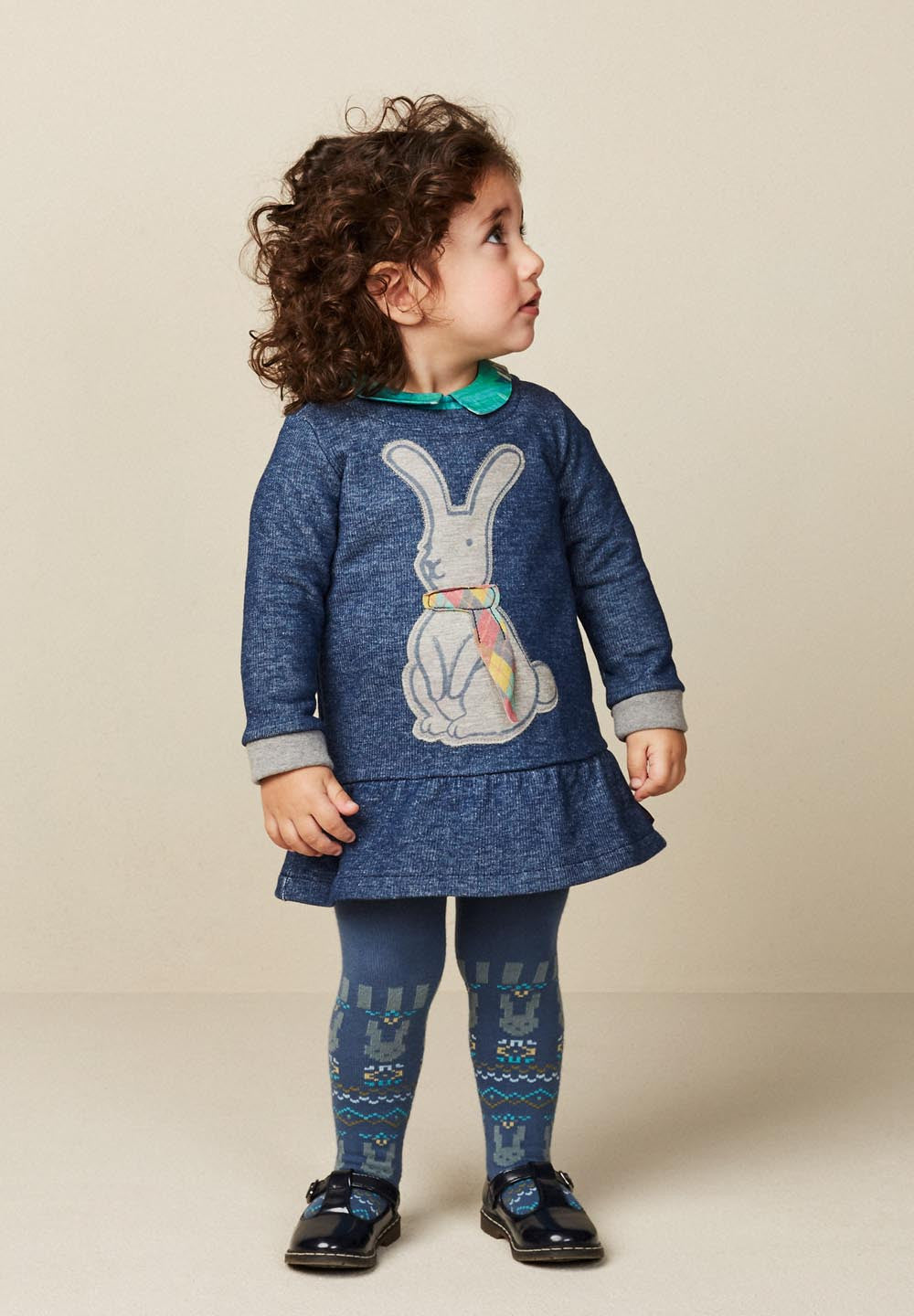 AW17 Oilily Girls Meadows Malliot 55 Jacquard Rabbits Blue Tights - Liquorice Kids