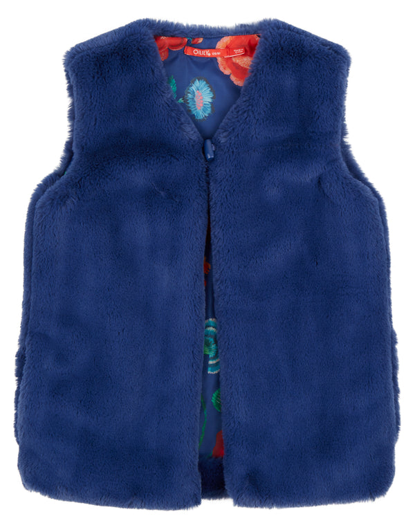 AW18 Oilily Girls Caddy Faux Fur Bodywarmer 59 Faux Fur Blue & Painted Embroidery 2-12 Years