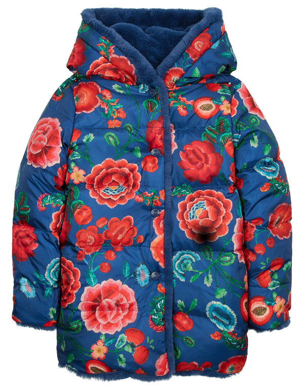 AW18 Oilily Girls Cozzle Coat 59 Faux Fur Blue & Painted Embroidery Coat 2-12 Years