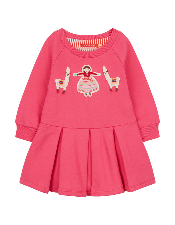 AW18 Oilily Girls Hermosa Sweat Dress 38 Plain Pink