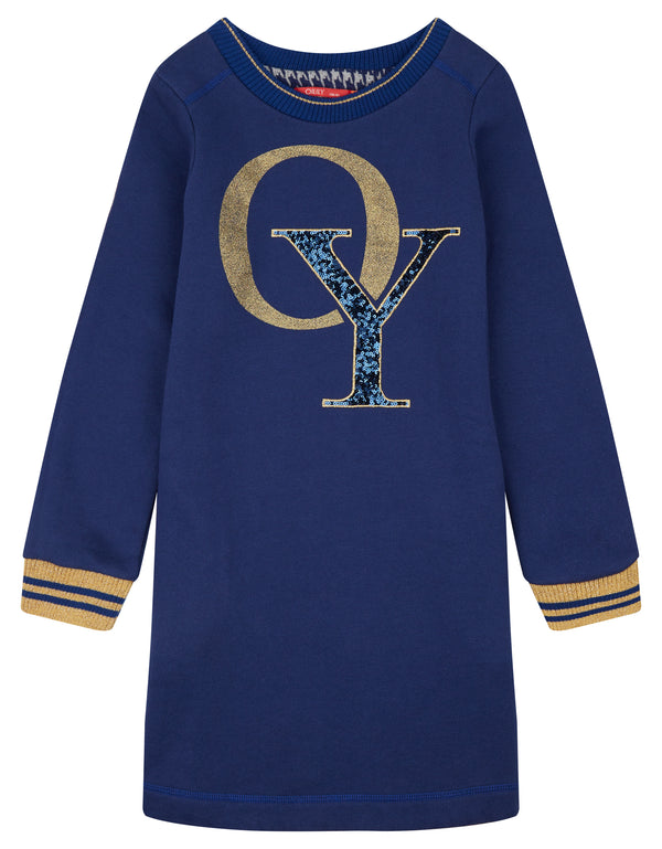 AW18 Oilily Girls Heyllama Sweat Dress 59 Navy & Gold