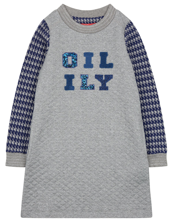 AW18 Oilily Girls Heyllama Dress 90 Bubble Silver