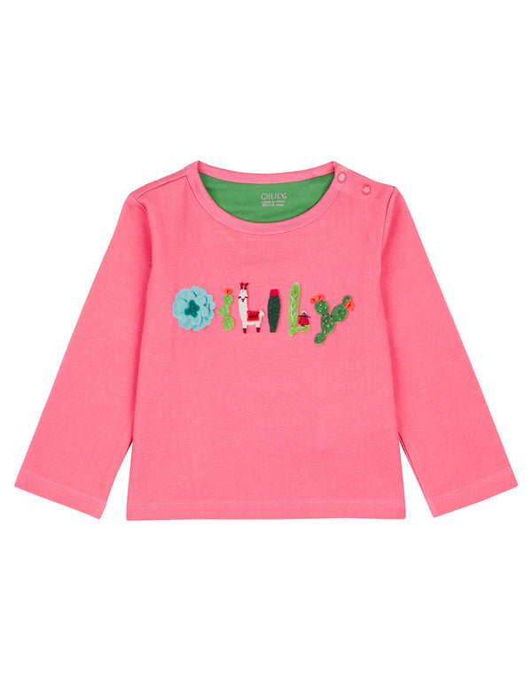AW18 Oilily Girls Tip T-Shirt 35 Pink Artwork