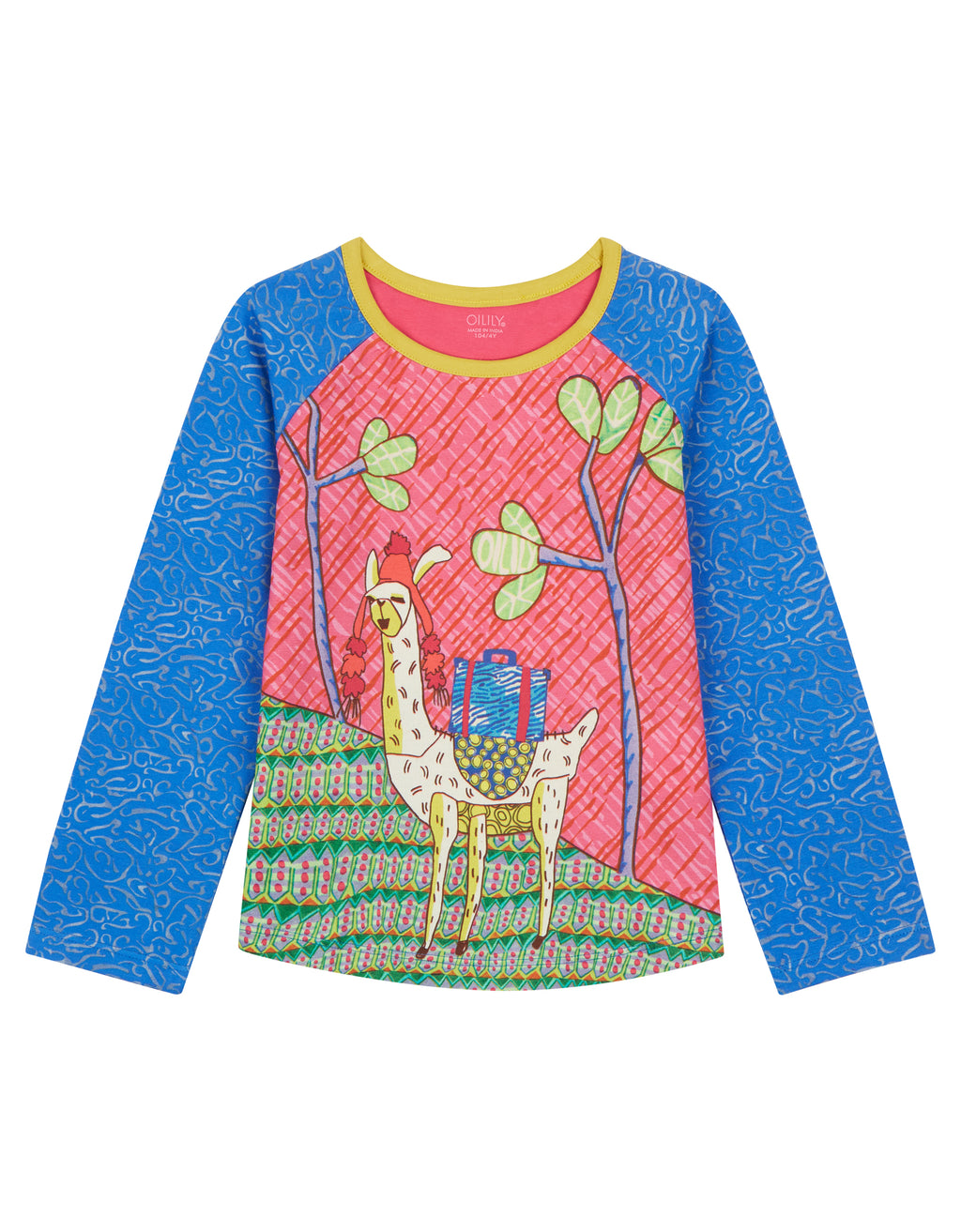 AW18 Oilily Girls Tumble T-Shirt 56 Waterpattern With Llama Montana