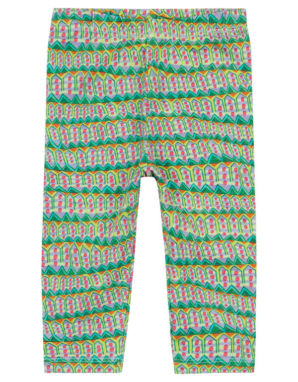 AW18 Oilily Girls Tiska Leggings 75 Mountain Elements Green