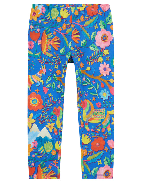 AW18 Oilily Girls Tiska Leggings 56 Mountain Folk Animals Blue