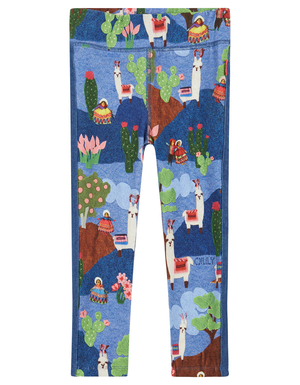 AW18 Oilily Girls Toga Leggings 53 Llama Landscape Blue