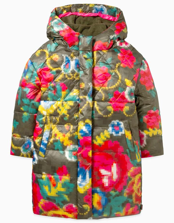 AW19 Oilily Girls Caneel Coat 79 Mosaic Flower